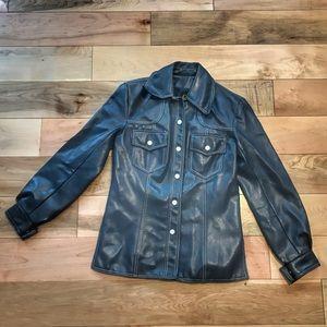 VTG Pleather Shirt Jacket Blue Vinyl Snap Top S